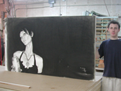 Archival Mounting of large charcoal drawing will hang without framing or glass.