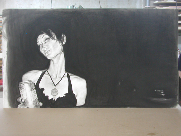 "Charcoal drawing 41"" x 71"" mounted to archival art panel."