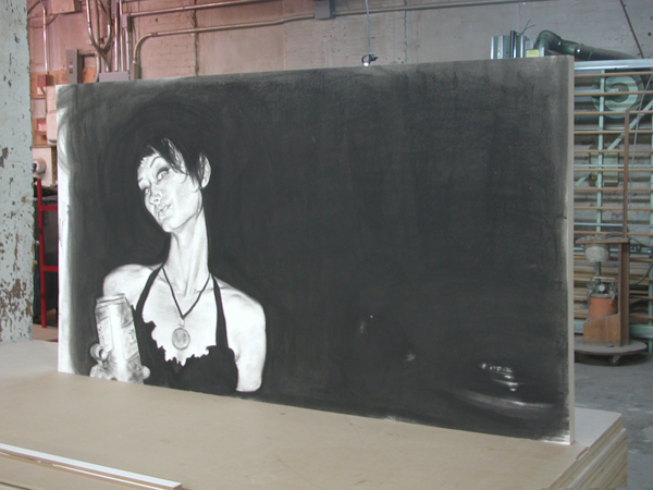 How to mount and show charcoal drawings without framing or glass.