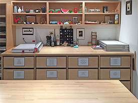 Art Studio Furniture has 12 art supply storage drawers for the school art classroom.