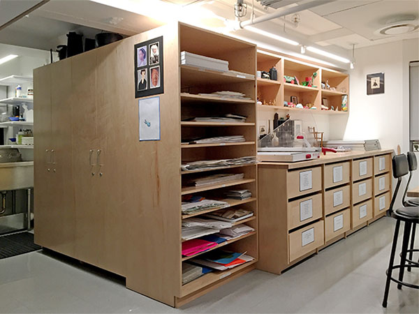 Art Storage in School Art Classroom made by Art Boards™ Archival Art Storage Systems.