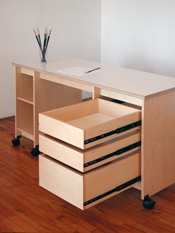 Artist Desk has drawers & shelves for making art & storing art.