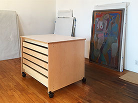 Art Studio Storage Drawers and Rolling Work Table
