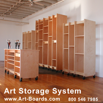 Art Storage for storing watercolor paintings and all artwork on paper and canvas.
