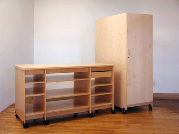 Art Storage Desk System and tall locking art storage cabinet.
