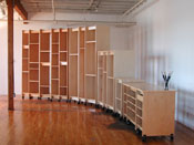 The Art Storage System can be rolled in place to form a curve.