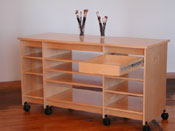 "Art Storage work table with art storage drawer for storing art and art supplies is 36"" tall."