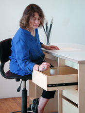 Art Storage Desk; modular art work tables with drawers & shelves for art and supplies