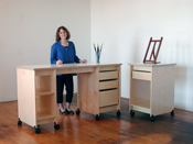 Art Storage Desk and work table for making art and storing art.