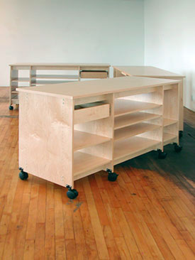 Three Rolling Art Studio Work Tables by Art Boards™.