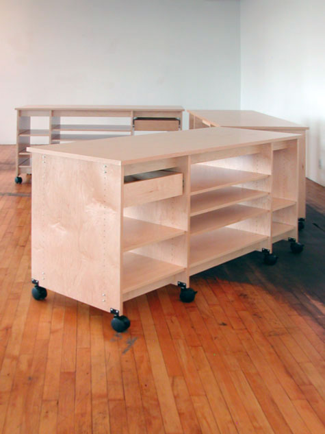 Perfect Three Rolling Art Studio Work Tables By Art Boards™.