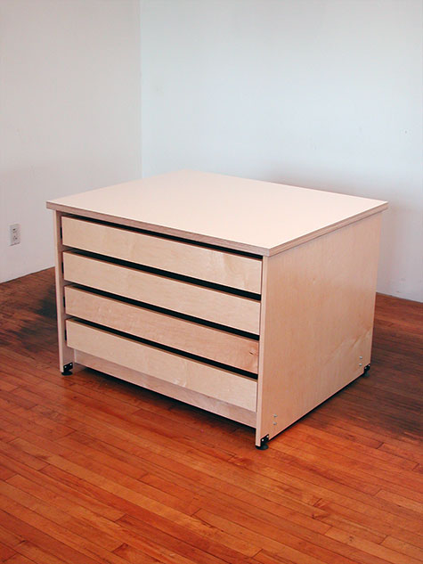 Flat Art Storage Drawer System For Storing Art Has Adjustable Leveling Feet.