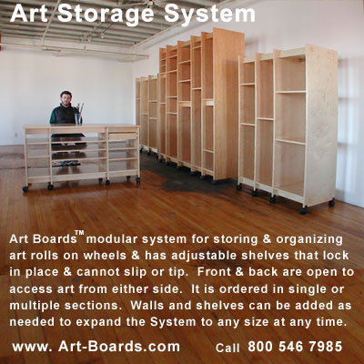 Art Storage System is for storing mounted art, drawings, paintings, and  prints.