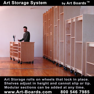 Art Storage Systems; for making art and storing art. Made in Brooklyn by Art Boards Archival Art Supply.