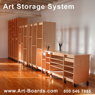 Art Storage System is for storing art; paintings, drawings, prints, art books, sculpture, and more. Made by Art Boards™ in Brooklyn New York.