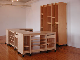 U-shaped artist work table and art storage desk and the vertical Art Storage System for storing fine art.