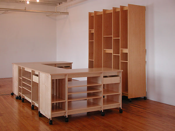 U Shaped Artist Work Table And Art Storage Desk The Vertical System