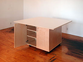 Art Studio artist work tables with adjustable shelving and doors for