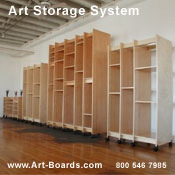 Painting storage for canvas panels and canvas boards by Art Boards™ Art Storage Furniture.