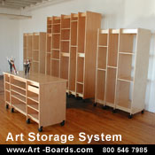 How to store art; art supplies, paintings, drawings, and prints.