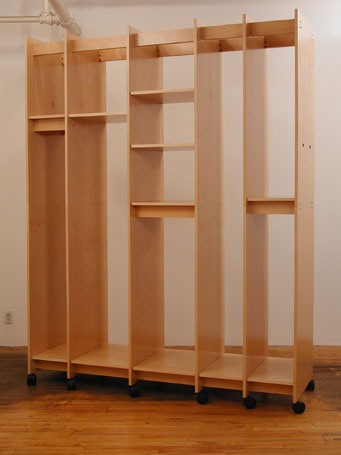 Art Storage shelves adjust in height and lock in place.