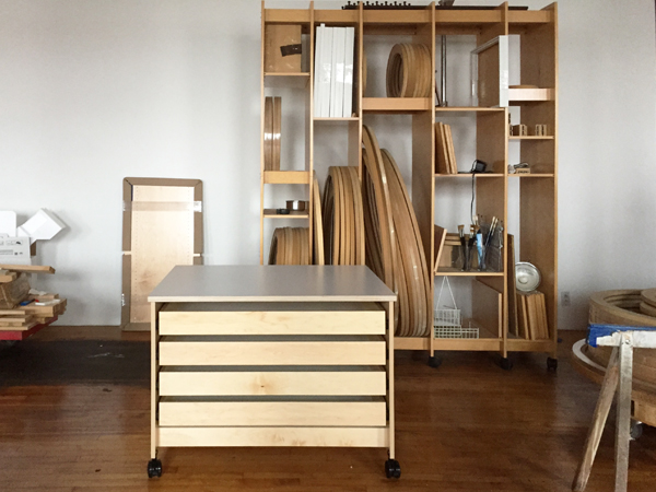 Large drawers for storing art flat and tall Art Storage Rack System for storing of paintings and framed drawings.