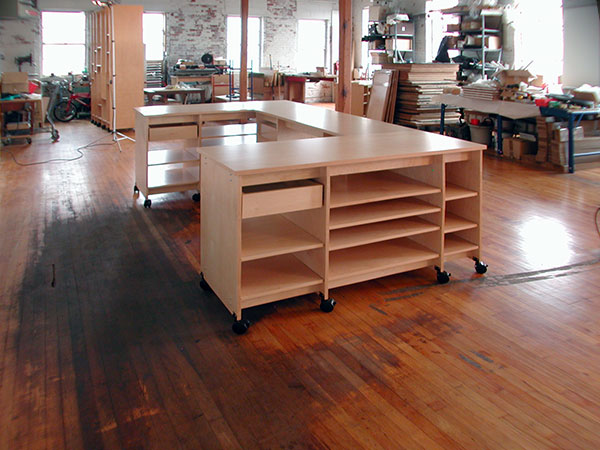 Elegant Artist Studio Desk And Artwork Table For Making And Organizing Art.