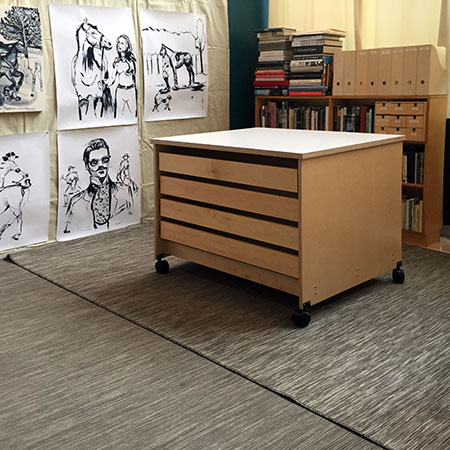 Art Studio Furniture Drawers for storing fine art and artist supplies.