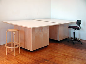 Art Studio tables can be used in conference rooms with stools or chairs.