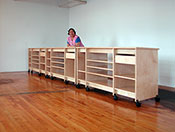 "Art Boards™ Art Studio Desk is195"" long and 36"" high, with adjustable shelves and drawers by Art Boards™."