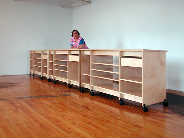 Three Art Studio Art Storage Work Tables Conected End To End;