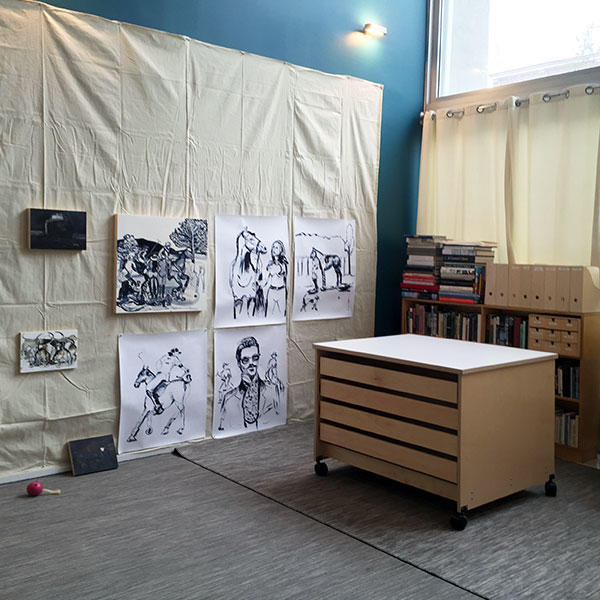 Artist Painting Studio With Large Flat File Storage For Storing Art.