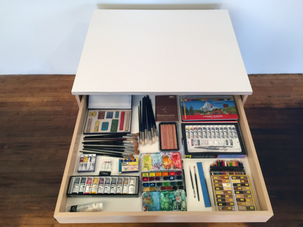 Art Storage System Drawers for storing art materials and fine art