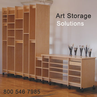 Art Storage System is made for organizing and archival storage of art. The Art Storage System safely stores paintings, drawings, prints, sculpture, art supplies, art books, photographs, and more.
