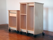 "These two Art Studio Storage Cabinets 36"" and 49"" in height. Both roll on wheels and are made by Art Boards� Archival Art Storage Supply."
