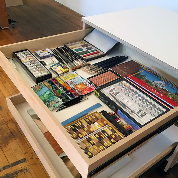 Art Supply Storage Cabinet Drawers for storing art and artist materials.