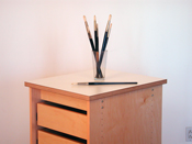 Art Studio Furniture for artists is a taboret and pallet table on wheels, with drawers, to be used in the art studio.