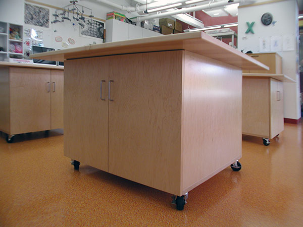 Art Storage Tables for Art Studios and Art Schools for storing art amd making art.