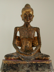 Bronze Seated Emaciated Buddha from 19th century on pedestal.