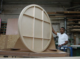 "Custom made round art panel 60"" x 1.5"" thick with a cradled wood back support."