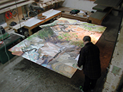 Archival Mounting of 8' x 11' painting on paper onto panel