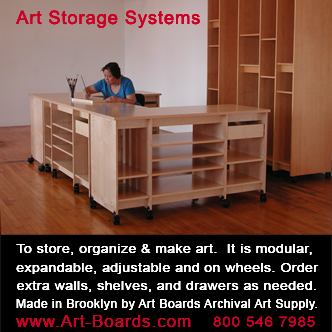Art Storage for the storage of art; paintings, drawings, sculpture, prints, and art supplies for making art.