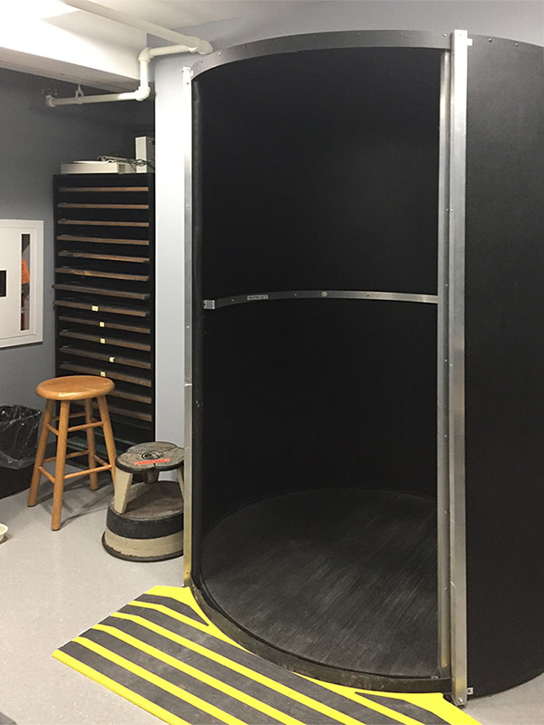 All Darkroom Cabinets were made by Art Boards™.  More than 32 lineal feet of cabinetry were delivered through this revolving door in parts. And they were re-assembled inside the darkroom in 4 hours' time.