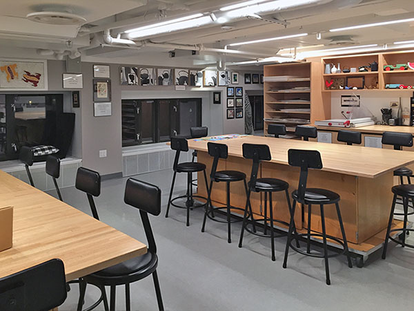 Art Studio Furniture and Art Studio Cabinets for School Art Classrooms for making art, teaching art, and for storing art and art supplies.