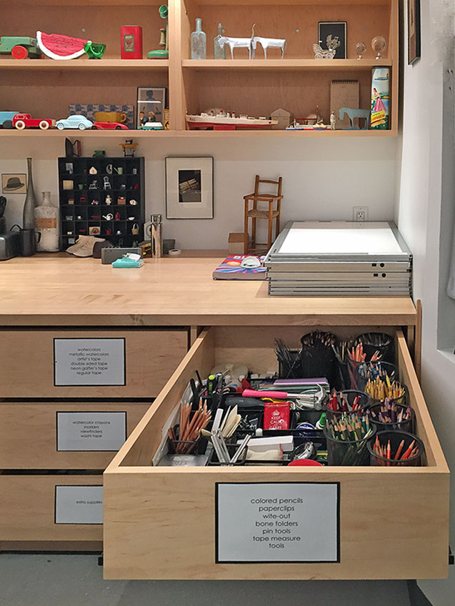Art Studio Art Supply Drawer is well labeled and organized in Art School Class Studio by Art Boards™Archival Supply.