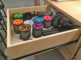 Art Supply Drawer is fully organized with a wide variety of drawing tools for the creative art student.