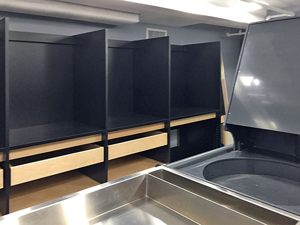 Art Darkroom has sinks and enlarger cabinets for creative art photography.