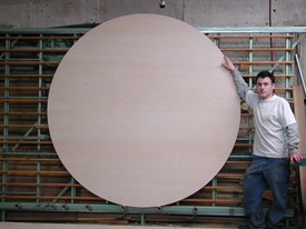"Round Maple Wood Paitning Panel has an 84 "" in diameter for making art."
