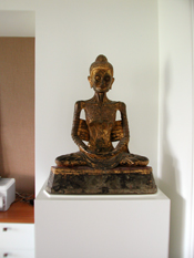 Lacquered Sculpture Pedestal for Bronze Seated Emaciated Buddha