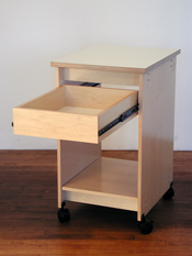 Art Storage Drawer fully extends to access art and artist supplies.